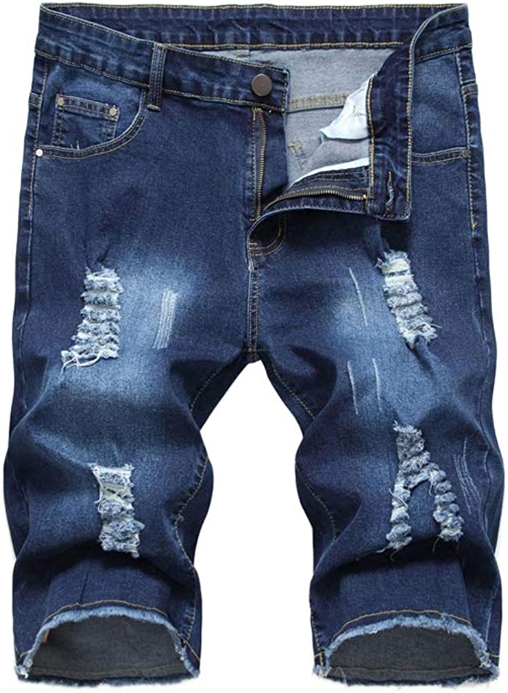 PASOK Men's Casual Denim Shorts Distressed Stretchy Jeans Shorts Ripped Short Pants