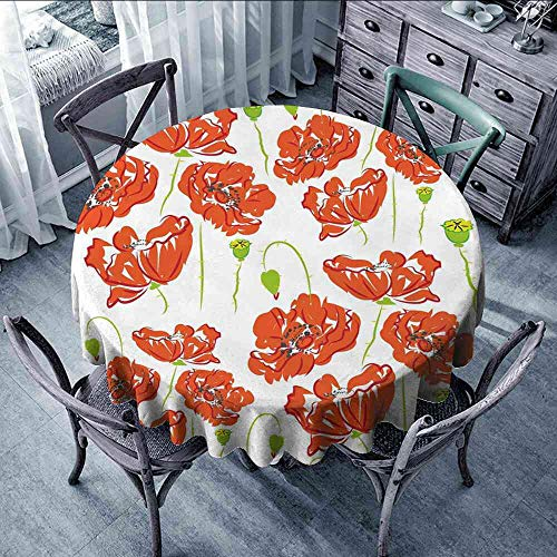 (LOUTAN Tablecloth Anemone Flower,Doodle Style Poppy Anemone Field in Full Blossom May Flowers,Scarlet Lime Green Black Round Tablecloth for Umbrella Size:D39)