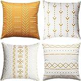 WLNUI Set of 4 Mustard Yellow Decorative Pillow Covers 18x18 Inch Boho Modern Throw Pillow Covers Geometric Mudcloth Linen Ne