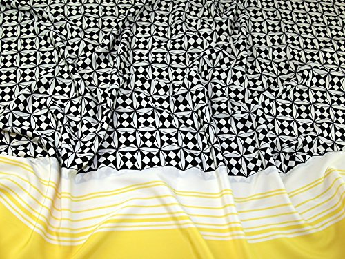 Geometric Border Print Microfibre Dress Fabric Black & Yellow - per metre