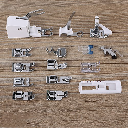 DGCUS 15 PCS Professional Sewing device Presser Walking Feet kit agreeable by using Brother Babylock New household Janome Elna Toyata Singer Elna Simplicity Necchi Kenmore Sewing Machines Presser Feet