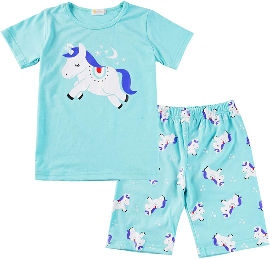 Unicorn Pajamas for Girls Pjs Sets Short Sleeve Summer Sleep Night Shirt Clothes