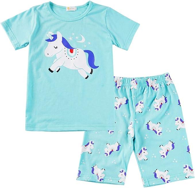Pijamas Unicornio Niña Algodon 100% Conjunto Pijama Dos Piezas Niño Verano Manga Corta Ropa Set T Shirt y Pantalones Cortos: Amazon.es: Ropa y accesorios