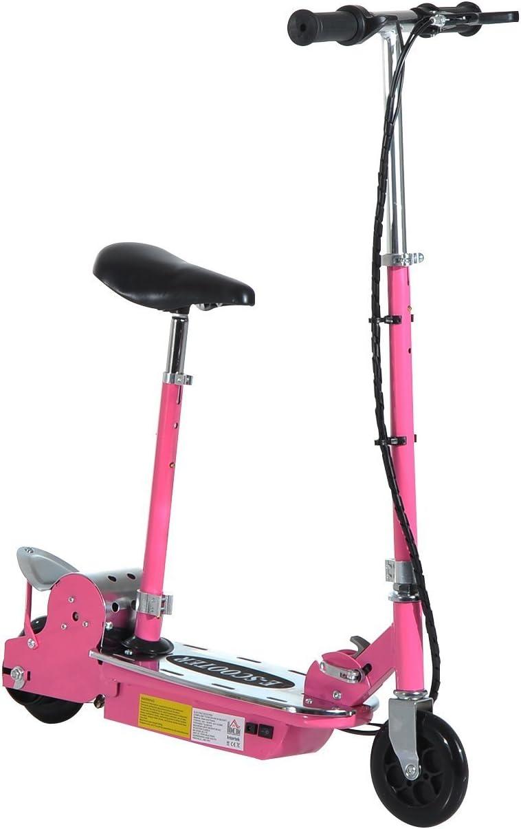 HOMCOM Patinete Eléctrico Scooter Plegable con Manillar y Asiento Ajustable Tipo Monopatín 120W Carga 50kg(Rosa)