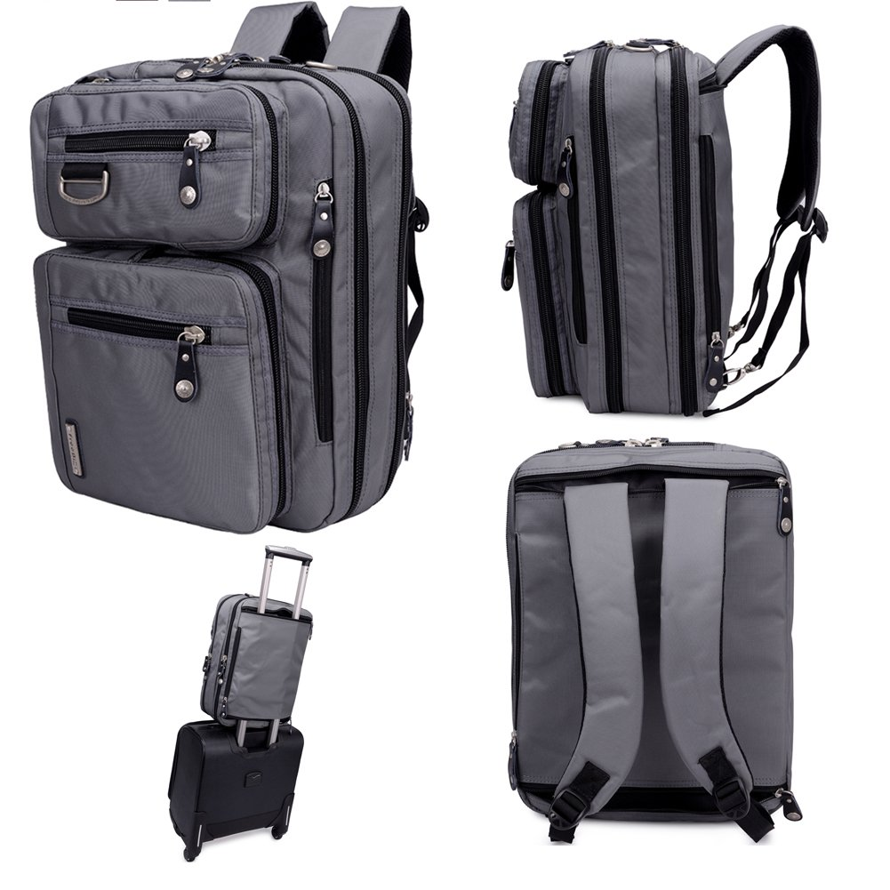 FreeBiz Laptop Backpack Messenger Bag-Hybrid Briefcase Backpack Vintage Bookbag Rucksack Satchel-Nylon Water-Resistant for 15.6 Inch Laptop FR3900115HS