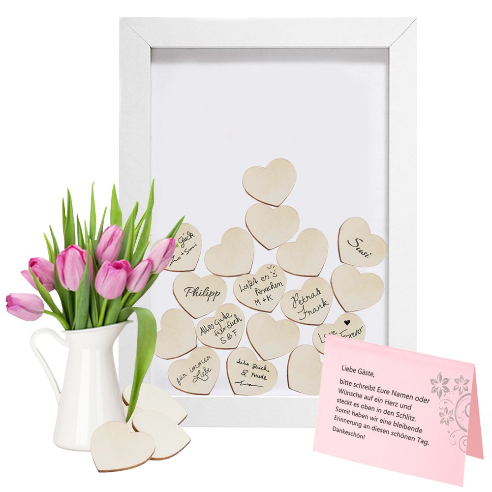 Lywedd® - Gästebuch zur Hochzeit im Boho Stil Bilderrahmen m ...
