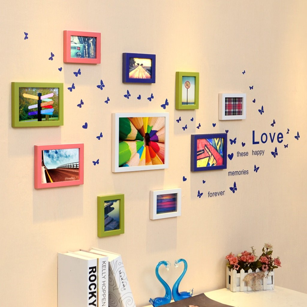 ZYANZ Photo Wall, Mix Green And Red Color Combination Of Solid Wood Free Photo Frame, Estimated Area Of 130 × 74cm