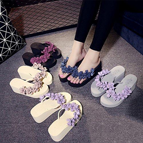Shoes grueso zapatillas sandalias Beach verano coreana versión mano 03 Color de de tacón Verano a Flowers inferior C Sandalias Sweet opcional elegante Cosido Wear femenino tamaño antideslizantes alto nxHZ7w0qYv