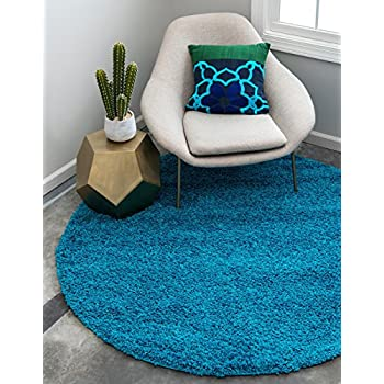 Unique Loom Solo Solid Shag Collection Modern Plush Turquoise Round (6 x 6)
