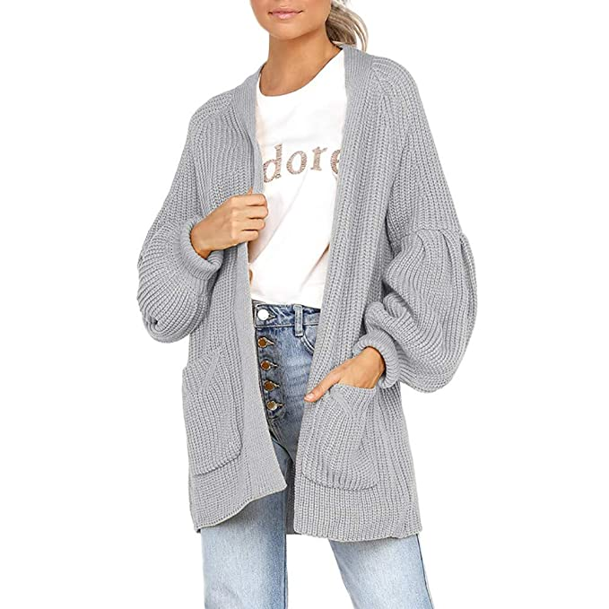 Plus Size Women Long Sleeve Pocket Cardigan Tops Sweater Coat AmyDong Knitted Sweaters(Grey,