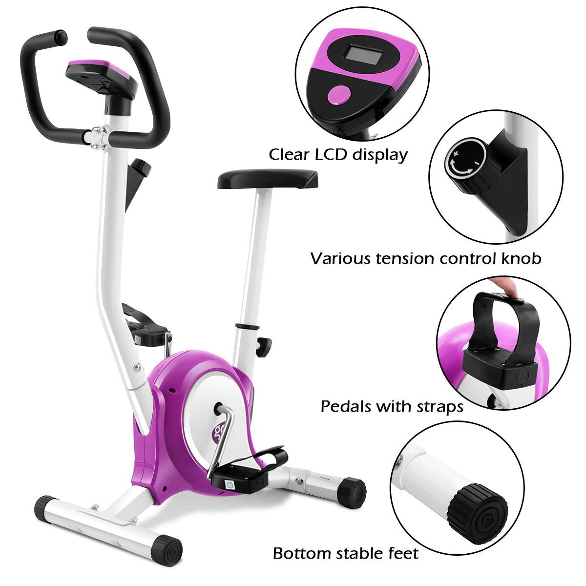 Goplus Upright Exercise Bike Magnetic Stationary Cycling Fitness Cardio Aerobic Equipment (White + Purple)