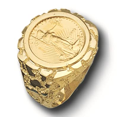 14K Gold Men S 22 Mm Nug Coin Ring With A 22 K 1 10 Oz American