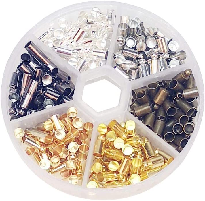100 pcs Gold Plated Barrel Bead Leather Cord ends caps Jewelry findings 4x9mm