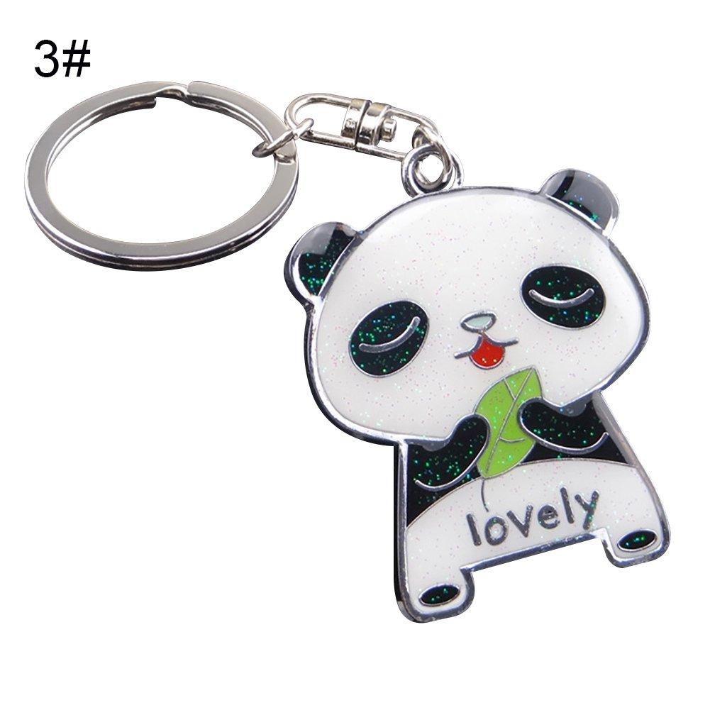 1# Livecity Lovely Panda Metal Keyring Keychain Car Key Holder Bag Pendant Gift