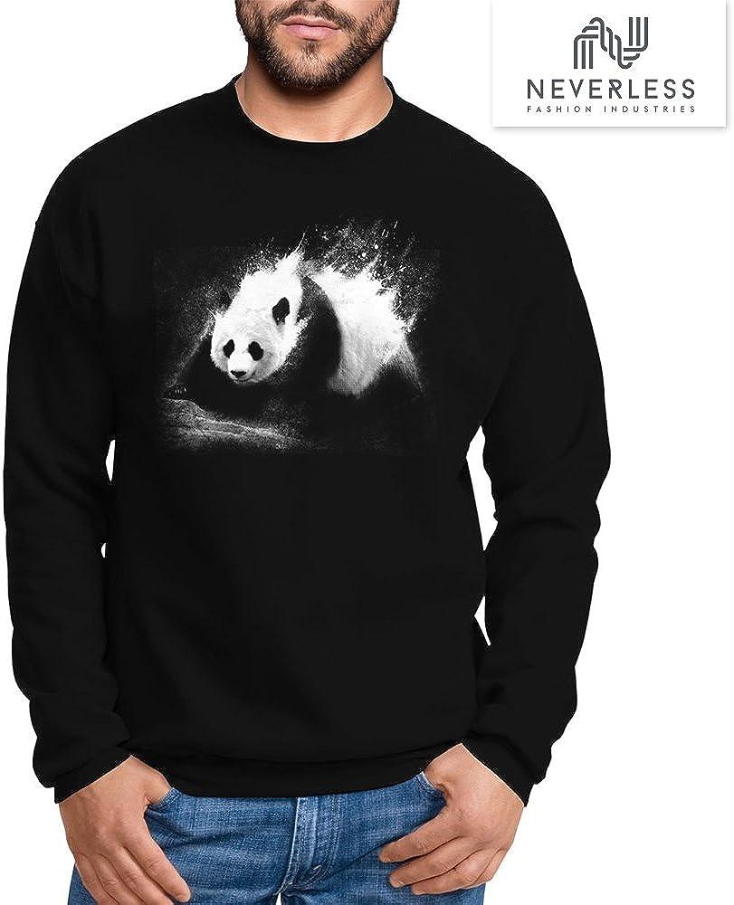 Neverless Sweatshirt Herren Panda Splash Rundhals-Pullover