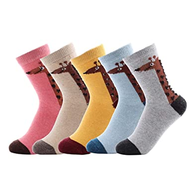Calcetines de Algodón de Mujers - Bakicey calcetines térmicos Adulto Unisex Calcetines (Jirafa Casual)
