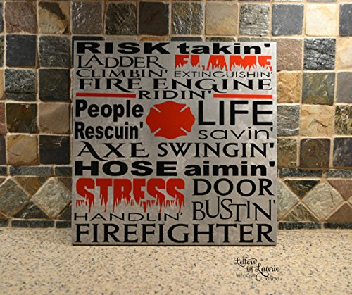 Fireman Wood Sign - Wood Plaque Fire Fighter Gift, Fire Fighter Sign, Fire Fighter, Fireman Gift, Fire Fighter Subway style Sign 12x12