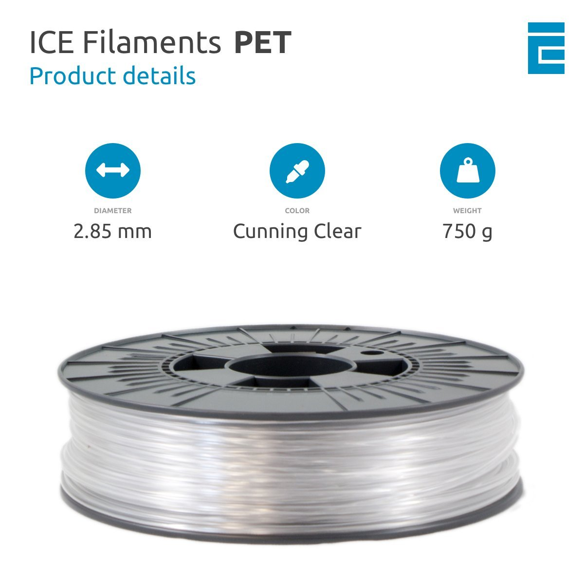 ICE Filaments ICEFIL1PET152 filamento PET,1.75mm, 0.75 kg, Cunning ...