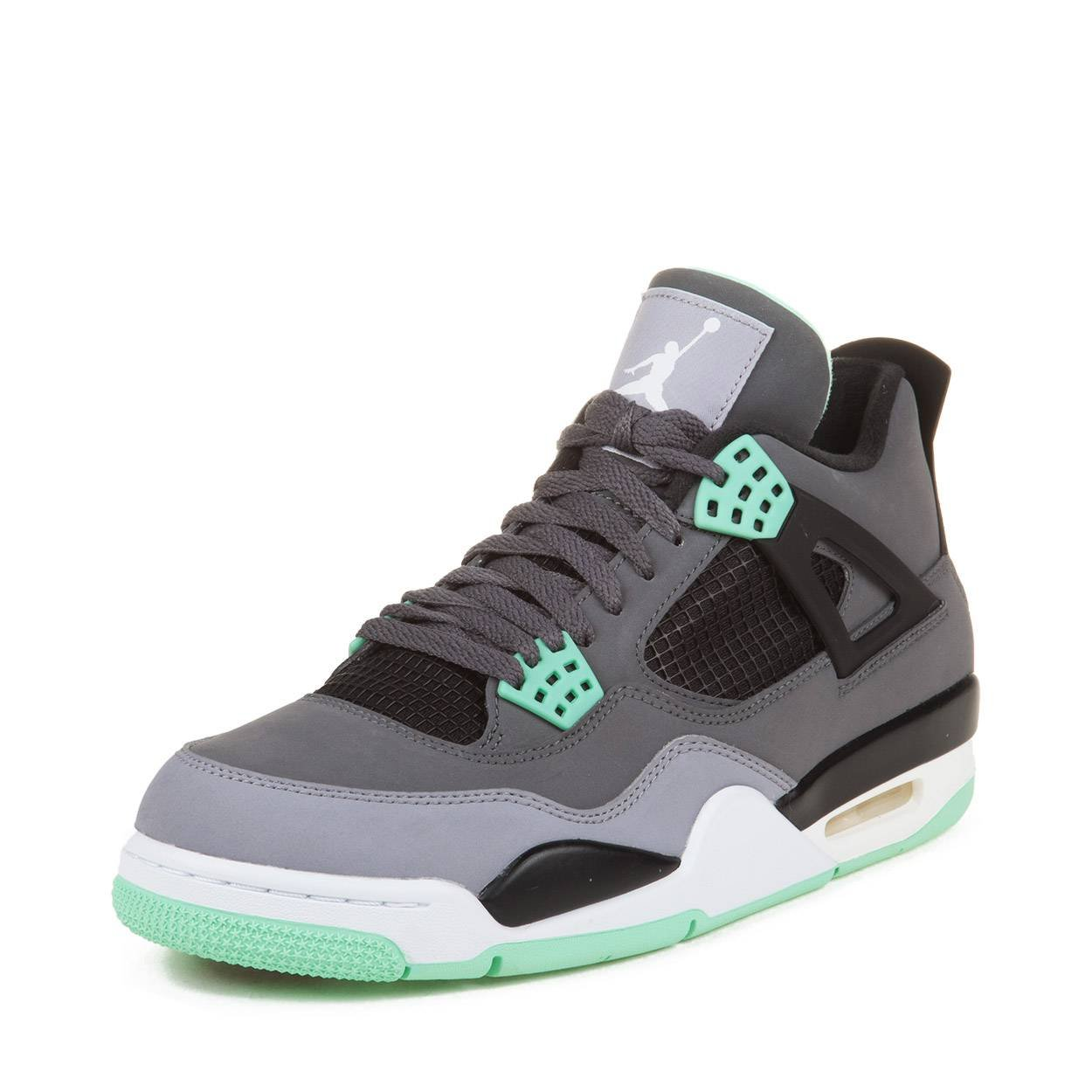 Jordan Nike Mens Air 4 Retro Dark Grey/Green Glow-Cement Grey Leather Basketball Shoes Size 8