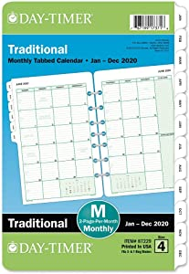 "Day-Timer 2020 Monthly Planner Refill, 5-1/2"" x 8-1/2"", Desk Size 4, Two Pages Per Month, Loose Leaf, Traditional (87229)"