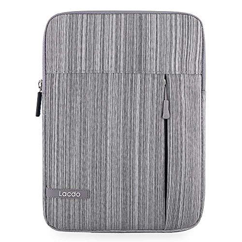 Lacdo Tablet Sleeve Case Compatible 11 inch New iPad Pro 2018 | 10.5 Inch iPad Pro | 9.7 inch New iPad | iPad Air 2 | iPad 4, 3, 2 | Samsung Galaxy Tab 10.1 Inch Protective Bag Water Repellent, Gray