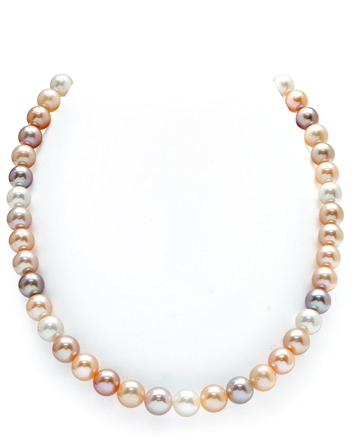 """14K Gold 9-10mm Freshwater Multicolor Cultured Pearl Necklace – AAAA Quality, 20"""" Matinee Length"""