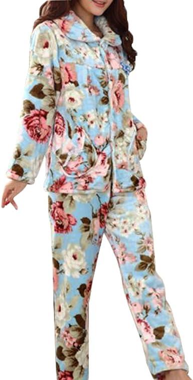 Casual Pijama Serie de Calentamiento Ropa de Dormir Ropa Inicio de la Franela Pijamas X-Large-A2
