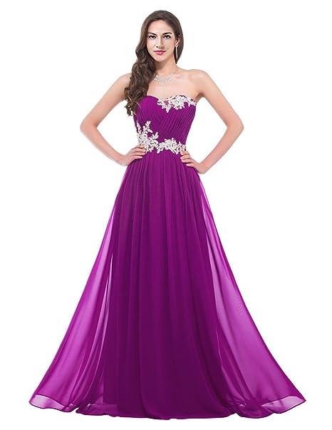 CaliaDress Falda Larga de Gasa para dama de honor Vestido gancho floral de noche C001LF violeta