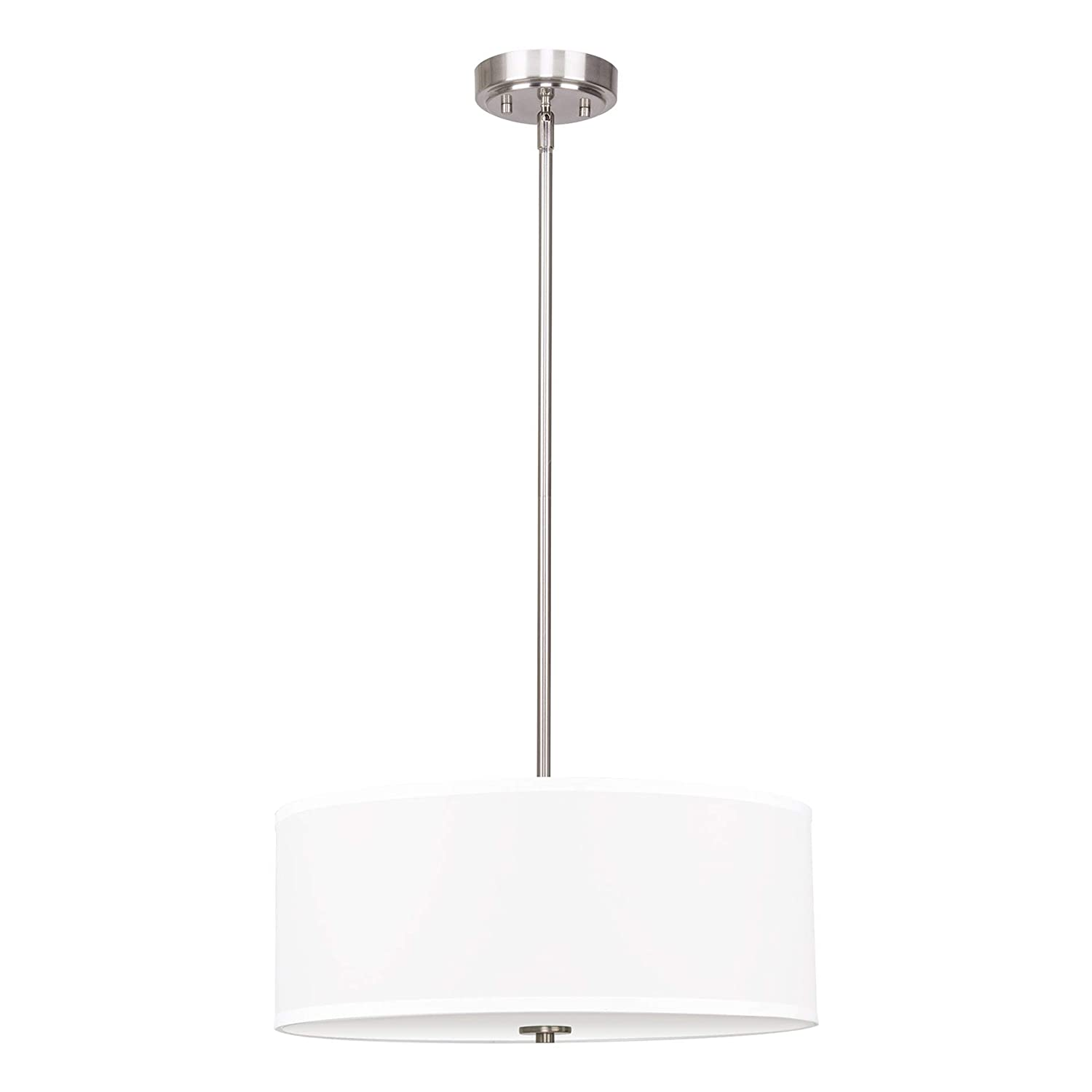 "Kira Home Nolan 18"" Classic Drum Chandelier, Stem-Hung Adjustable Height, White Fabric Shade + Glass Diffuser, Brushed Nickel Finish"