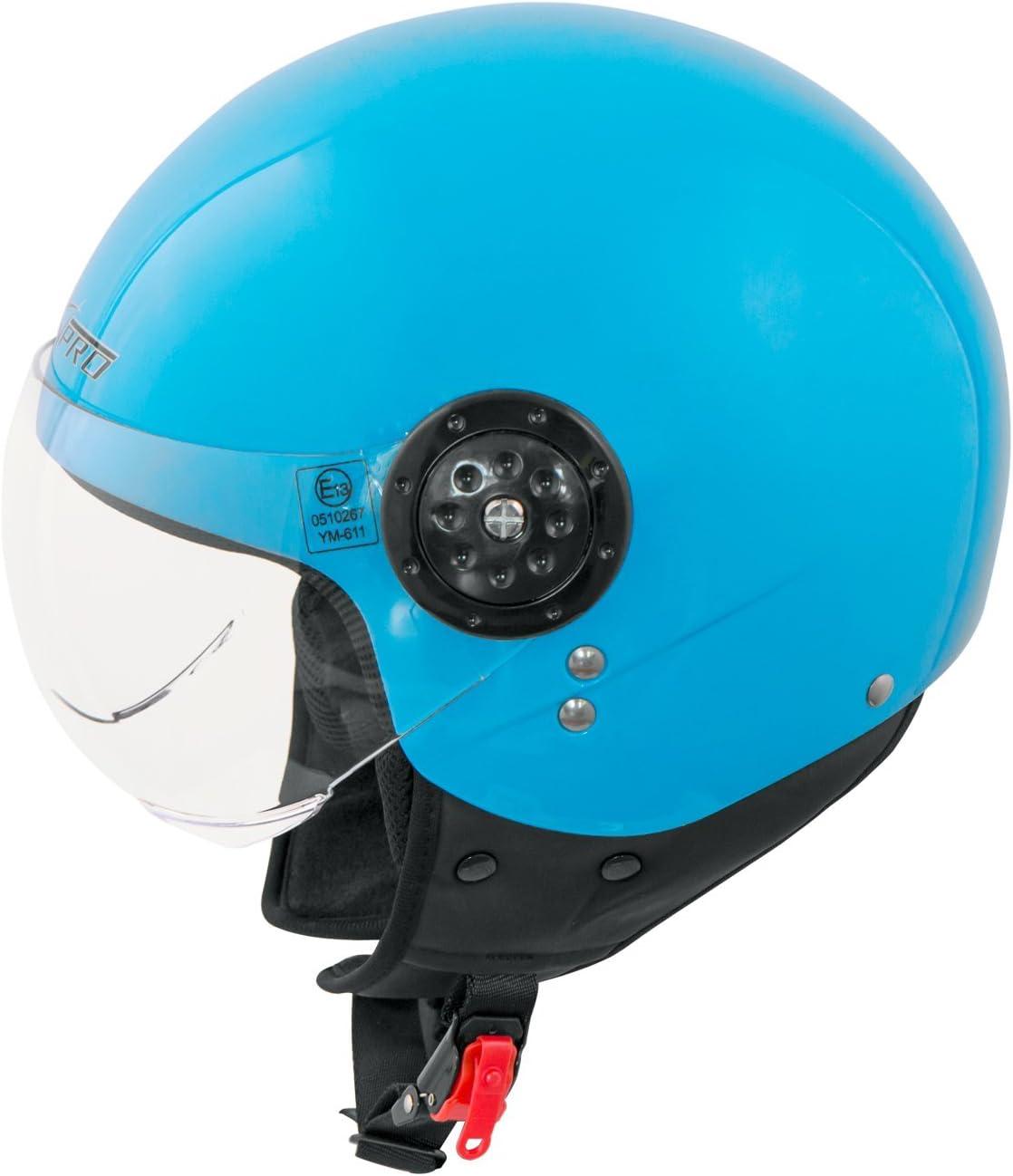 Motorradhelm Motorrad Roller Jet Demi Helm Scooter Homologiert Avio Visor schwarz XS