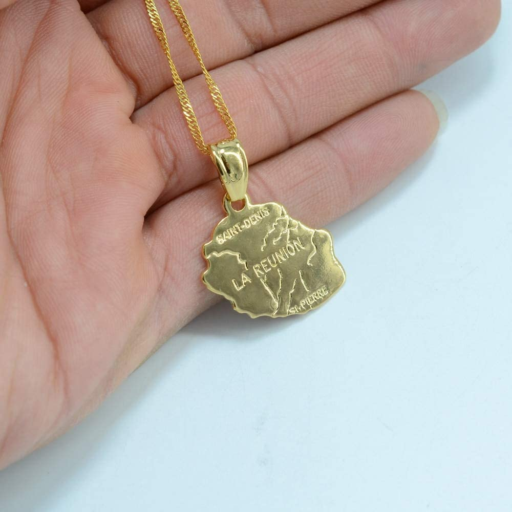 SWAOOS Gold Color La Reunion Map Pendant Necklace Chains Country France Reunion Island Map Jewelry Size 2.3Cm X 2.6Cm