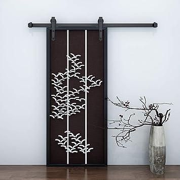 Kit de puerta corredera de acero al carbono de 183 cm, juego de rieles de madera negra para armario, sistema de montaje en pared: Amazon.es: Bricolaje y herramientas