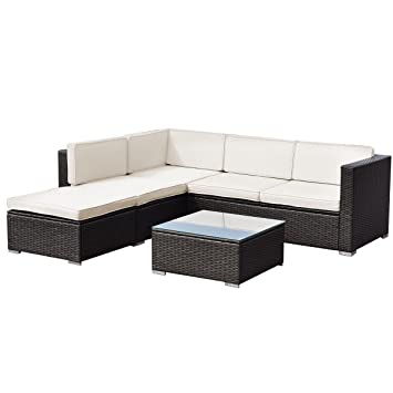 Al aire libre muebles de jardín de amor asiento amortiguado ratán ...