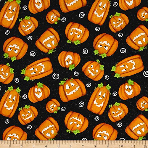 Henry Glass Chills & Thrills Pumpkins Glow in The Dark Black Fabric by The -