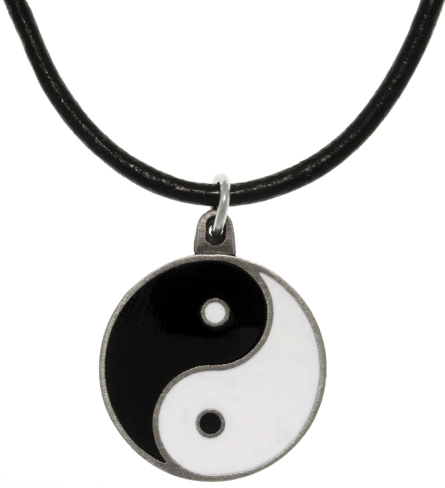 "Jewelry Trends Yin Yang Pewter Pendant Necklace 18"" Leather Cord"