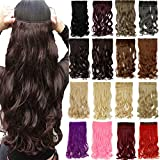 S-noilite One Piece 5 Clips Long Curly Straight Clip in Hair Extensions Natural Synthetic Hair Piece Multicolor Available