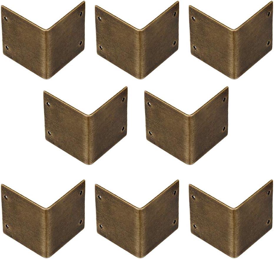 Tiazza 8Pcs Pure Brass 90 Degree Right Angle Corner Protector Corner Braces Camphorwood Box Corner Code Antique Edge Cover (1.18