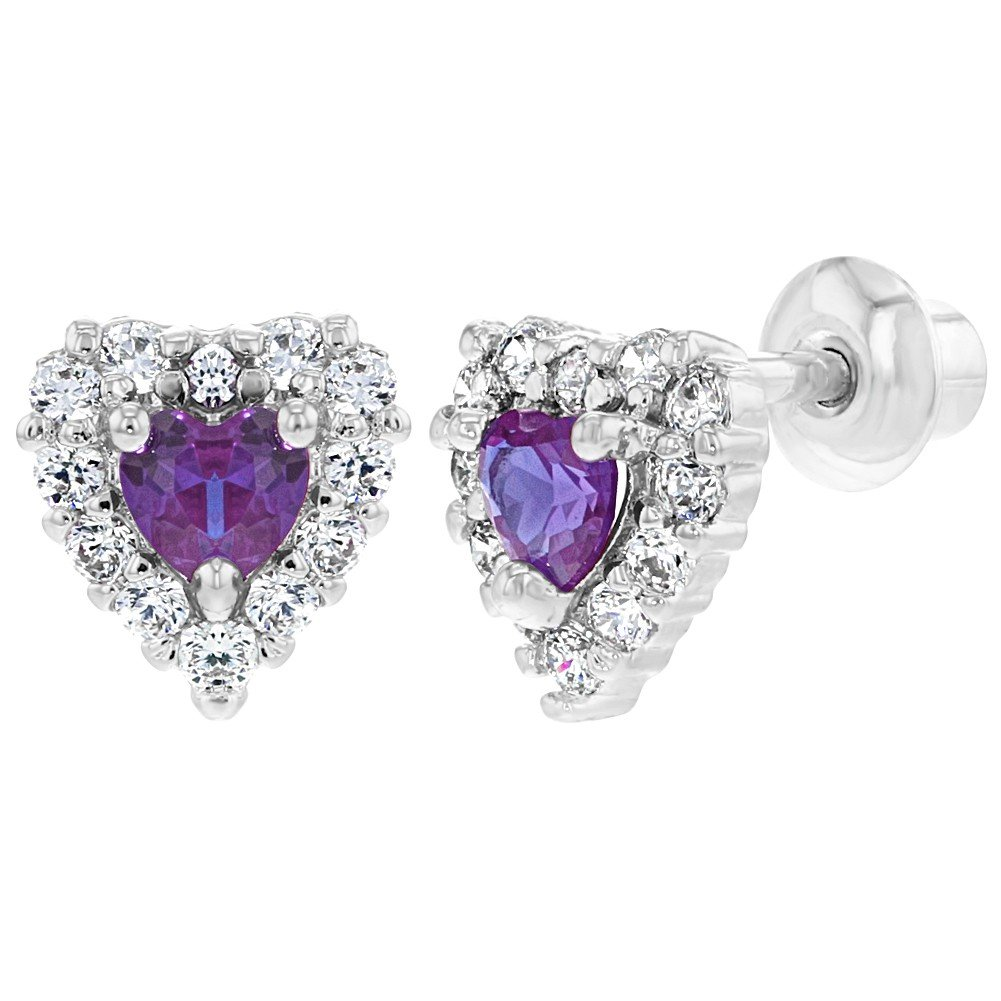 Rhodium Plated Small Purple Clear Crystal Heart Screw Back Earrings Baby Girl In Season Jewelry 03-0987