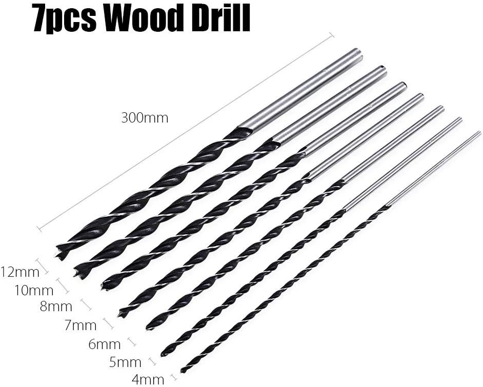 Basic Cellphone Cases CZMY 7pc X Long Wood Drill Bit Set 4mm 5mm 6mm 7mm 8mm 10mm 12mm x 300mm Brad Point Drill Bits