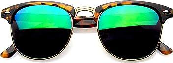 edfcd6982c Retro Fashion Half Frame Flash Mirror Lens Semi Rimless Horned Rim  Sunglasses
