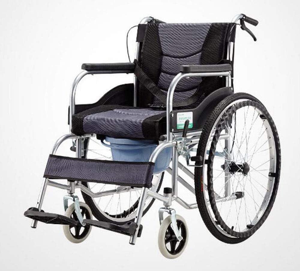 Silla De Ruedas Manual Plegable con Pedal De Hierro del Asiento del Freno De Bedpan para La Persona Discapacitada Mayor
