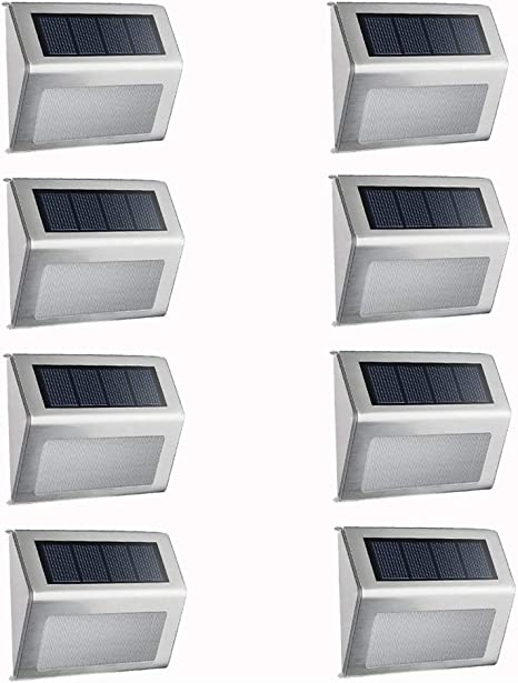 Solar 3 LED Wall Step Light Outdoor Fence Garden Waterproof Stair Deck Lamp