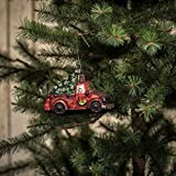 RED MERCURY GLASS TRUCK WITH CHRISTMAS TREE ORNAMENT SET/2