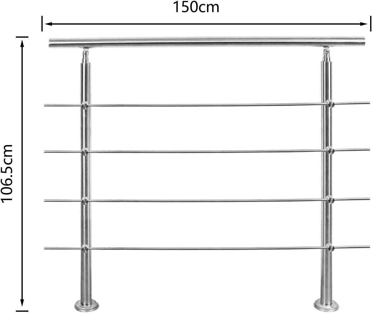 Hengda Edelstahl Handlauf Gel/änder Treppengel/änder 80 cm mit 4 Querstreben Montagematerial Wandhandlauf Wandhalterung Innen /& Au/ßen