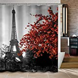 Curtains Ideas Uphome 72 x 72 Inch Waterproof Grey Paris Eiffel Tower Custom Bathroom Shower Curtain - Cityscape Red Flower Polyester Fabric Bathroom Curtain Ideas