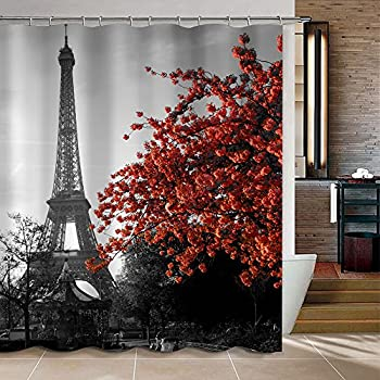 Uphome 72 X 72 Inch Waterproof Grey Paris Eiffel Tower Custom Bathroom Shower  Curtain   Cityscape