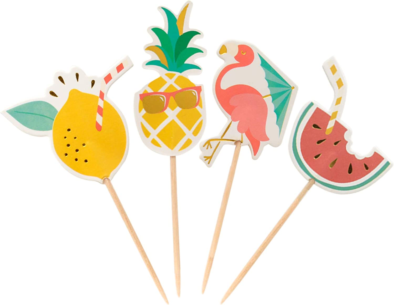 CHOUNYEE 48PCs Tropical Cupcake Topper for Birthday Party Summer Pineapple Party Decorations Cocktail Picks Watermelon Cupcake Toppers Cake Decorations