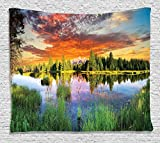 Ambesonne Lake House Decor Collection, Calm Natural Sunrise by River Forest Trees Clouds Weeds Sunlight Reflection on Water , Bedroom Living Room Dorm Wall Hanging Tapestry, 80W X 60L Inch, Multi