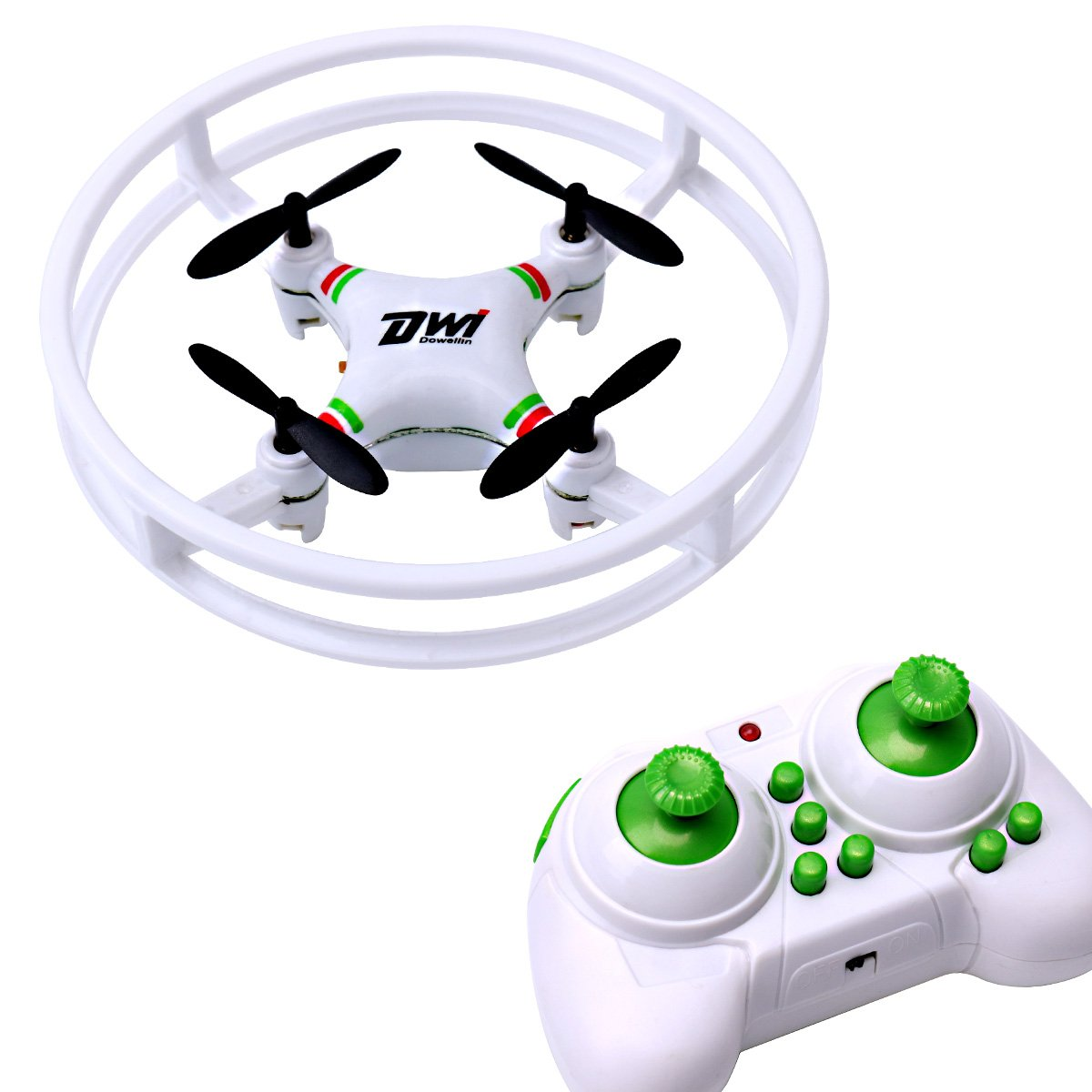 Dwi Dowellin indoor drone for kids Beginners Mini RC Quadcopter 2.4Ghz 4CH 6-Axis Nano Drones RTF Helicopter D1 White