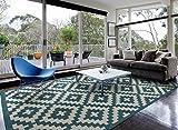 Cheap HOMEGNOME Indoor Outdoor Moroccan Trellis Rug 5'x7′ Ocean Blue Neutral